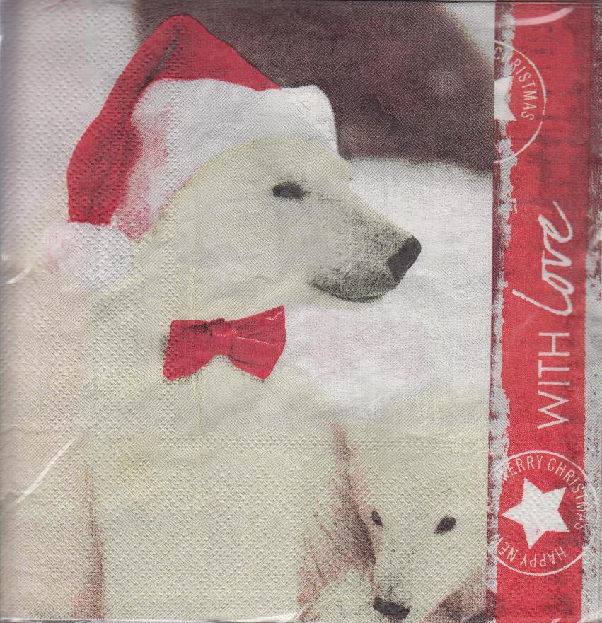 Polar Bear Pack Of 20 Cute Novelty Christmas Paper Napkins Tableware 33cm
