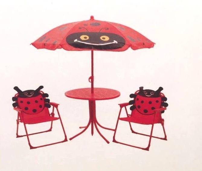 Childrens Garden Furniture Patio Set Kids Table Chairs U0026 Parasol   Red  Ladybird