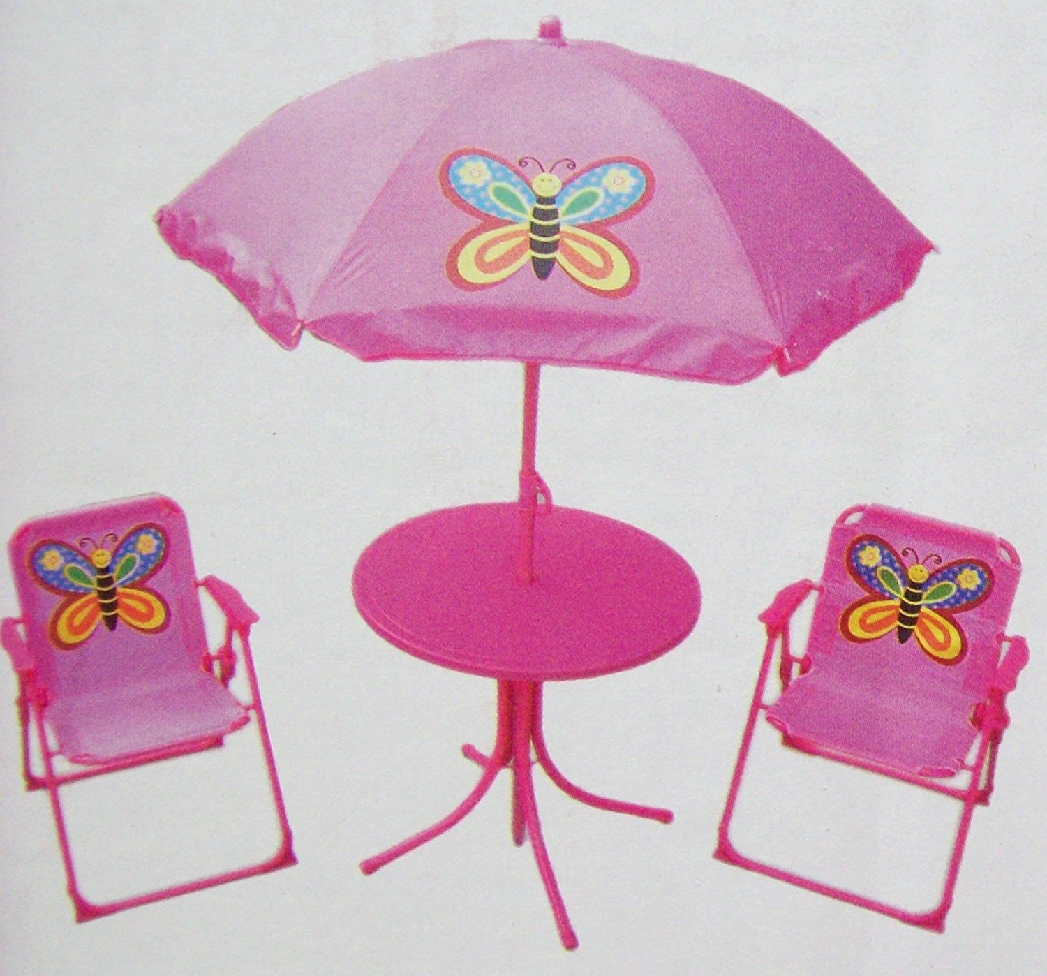 Childrens Garden Furniture Patio Set Table Chairs U0026 Parasol   Pink Butterfly