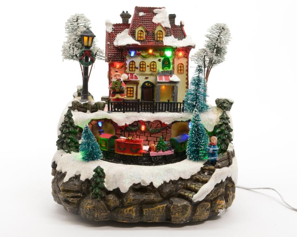 Lumineo LED Light Up Christmas Train Station Ornament ...