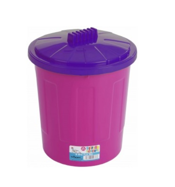 kids plastic round toy pet food storage waste office bin box with lid pink 21l ebay. Black Bedroom Furniture Sets. Home Design Ideas