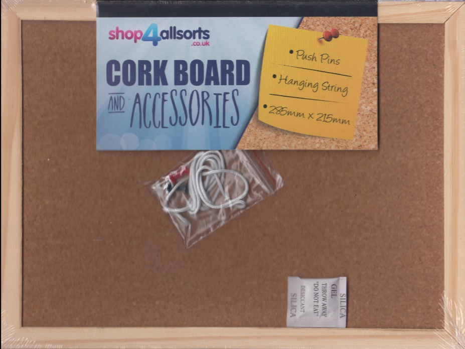 SMALL CORK NOTICE BOARD PIN MEMO WOODEN FRAMED OFFICE WALL SCHOOL ...